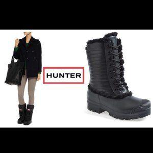 Hunter Genuine Shearling LeatherRain Lace Boots 8